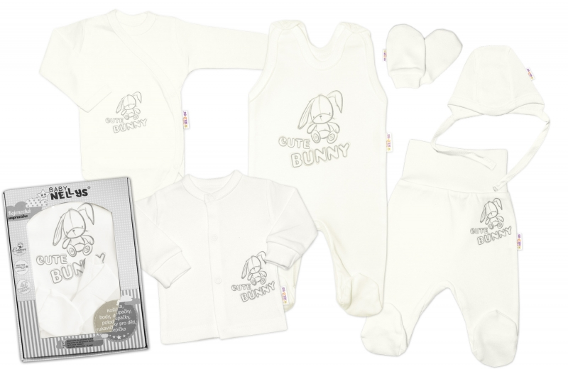 baby-nellys-velka-sada-do-porodnice-cute-bunny-6-ti-dilna-v-krabicce-smetanova-50-0-1m