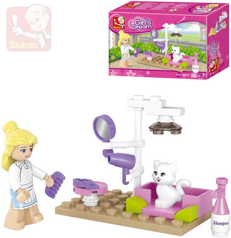 SLUBAN Stavebnice GIRLS kočičí salon set 30 dílků + 1 figurka