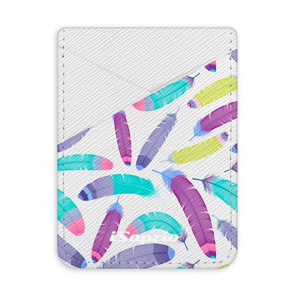 Pouzdro na kreditní karty iSaprio - Feather Pattern 01 - světlá nalepovací kapsa