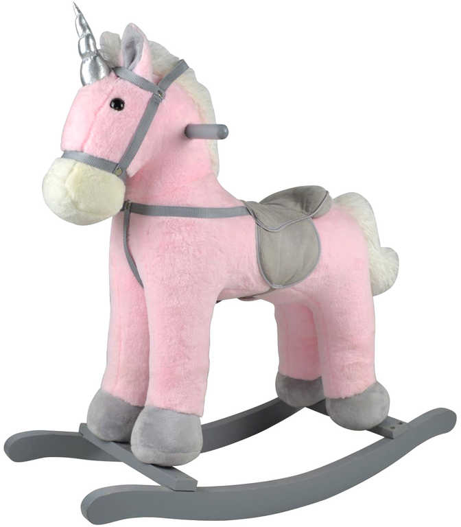 DŘEVO Kůň plyšový houpací jednorožec růžový 71cm řehtá na baterie Zvuk