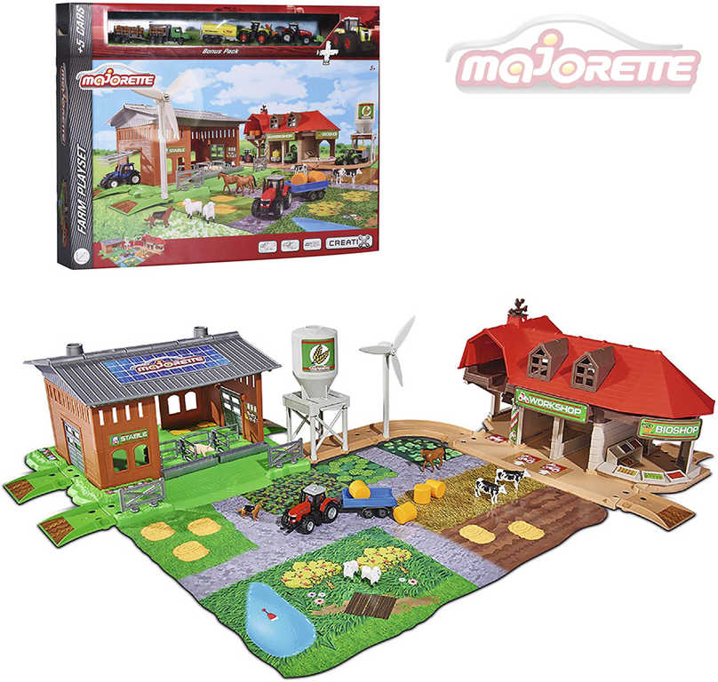 MAJORETTE Creatix Farma velká herní set s 5 vozidly a budovami s doplňky