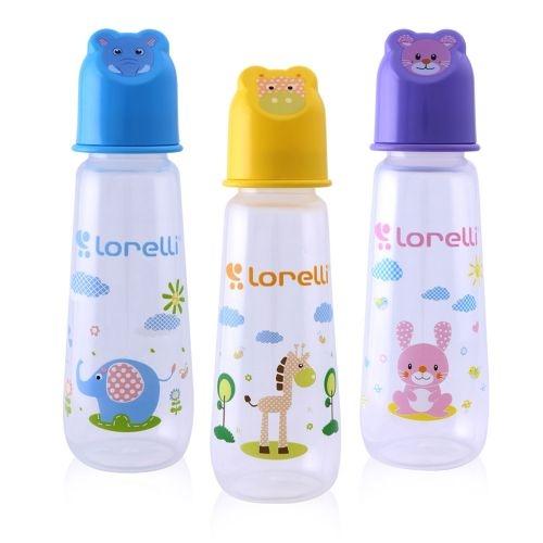 Kojenecká lahvička Lorelli 250 ml s víkem ve tvaru zvířete YELLOW