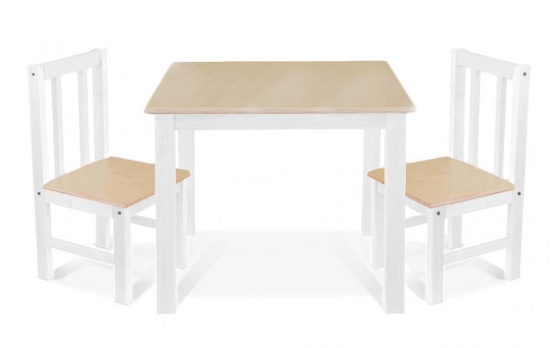 BABY NELLYS Dětský nábytek - 3 ks, stůl s židličkami - přírodní II. , bílá, D/03