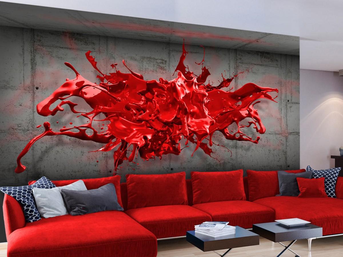 3D tapeta červená - 200x140 cm