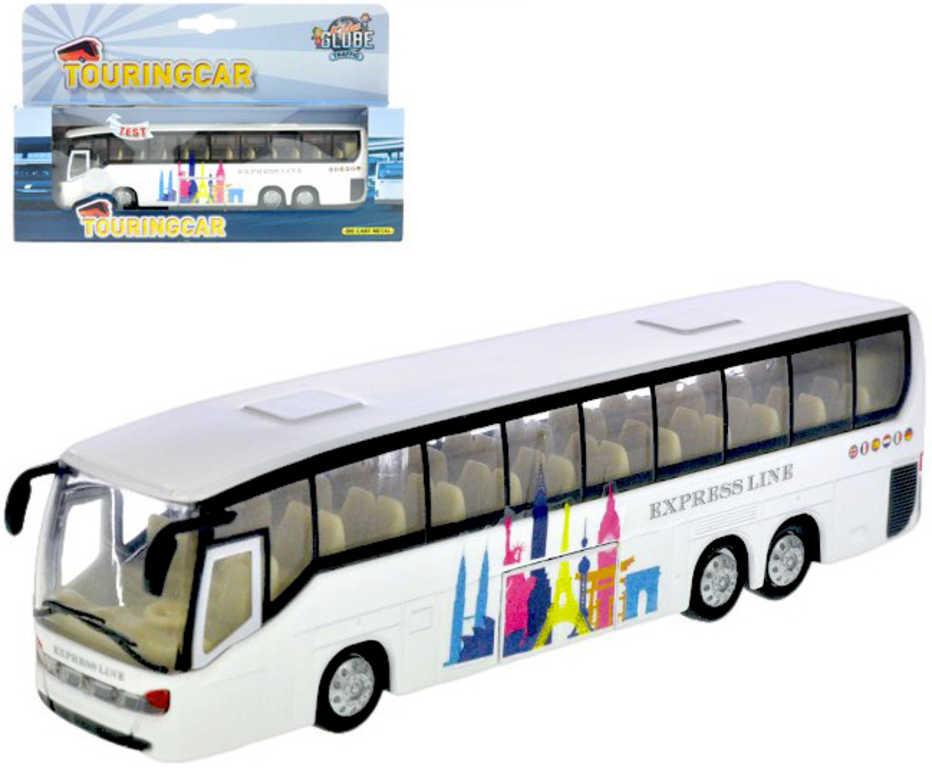 Autobus kovový bílý 18cm zpětný chod na baterie v krabičce