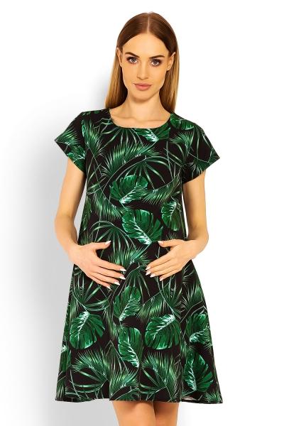 Elegantní volné těhotenské šaty, tunika, kr. rukáv - jungle, vel. XXL - XXL