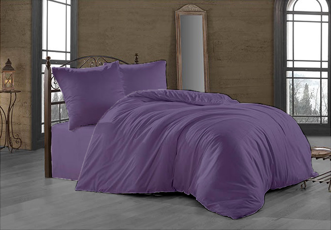 Prodloužené povlečení Satén 140x220, 70x90cm tmavě fialové, Výběr zapínání: zipový uzávěr