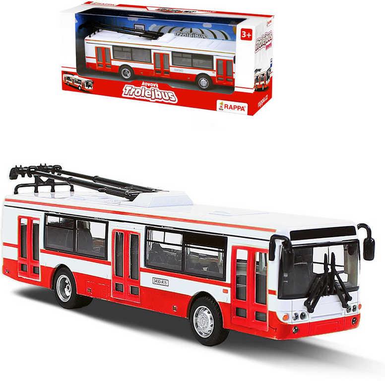 Trolejbus MHD 16cm červeno-bílý kovový na zpětný chod v krabici