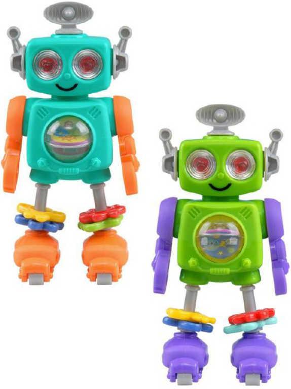 Baby chrastítko robot 20cm na kolečkách 2 barvy plast pro miminko