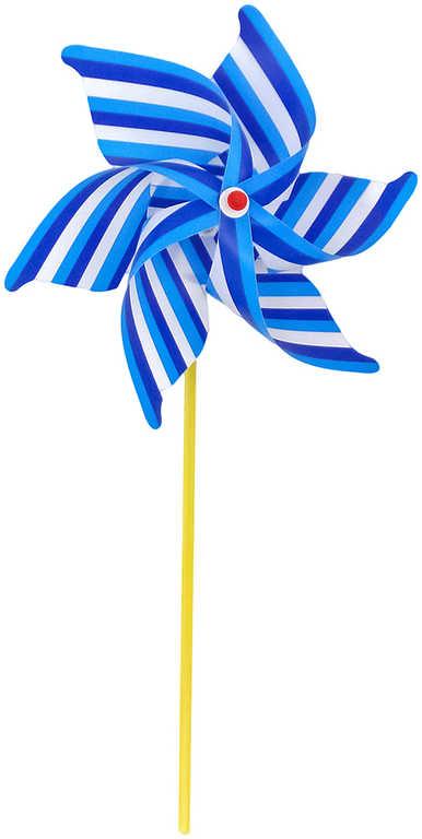 Větrník na tyčce 29cm pruhovaný 2 barvy plast