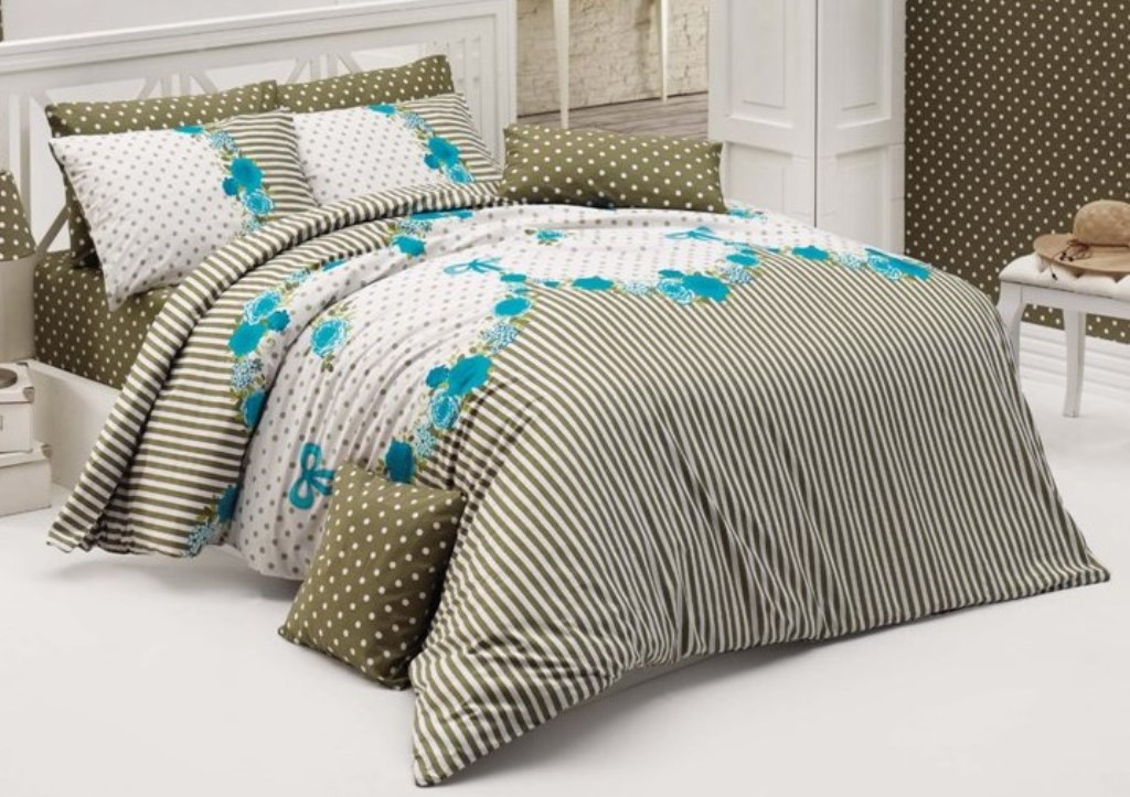 Povlečení francouzské bavlna 220x220,70x90 Tanya modrá, Výběr zapínání: zipový uzávěr