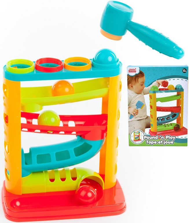 Dráha kuličková plastová baby zatloukačka 2v1 s kladívkem v krabici pro miminko