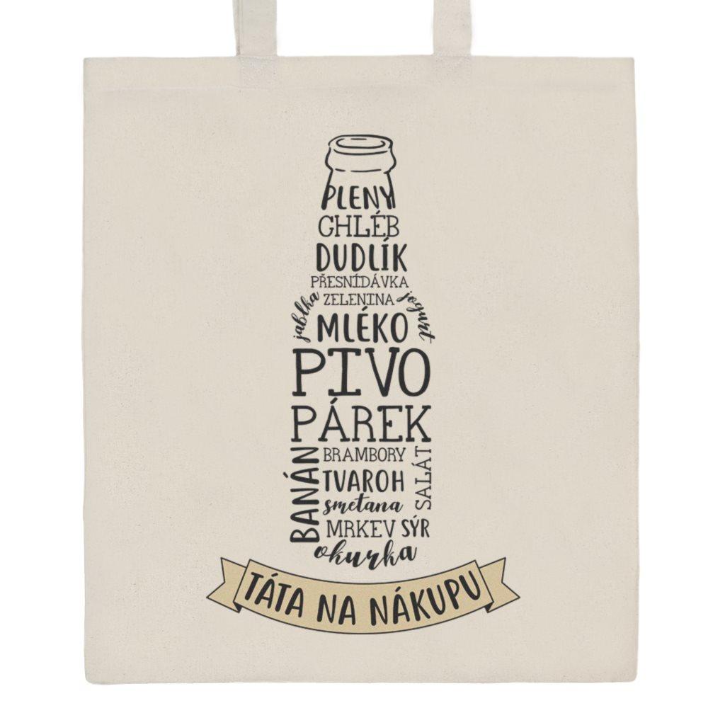 Bavlněná nákupní taška s potiskem New Baby Táta na nákupu - přírodní