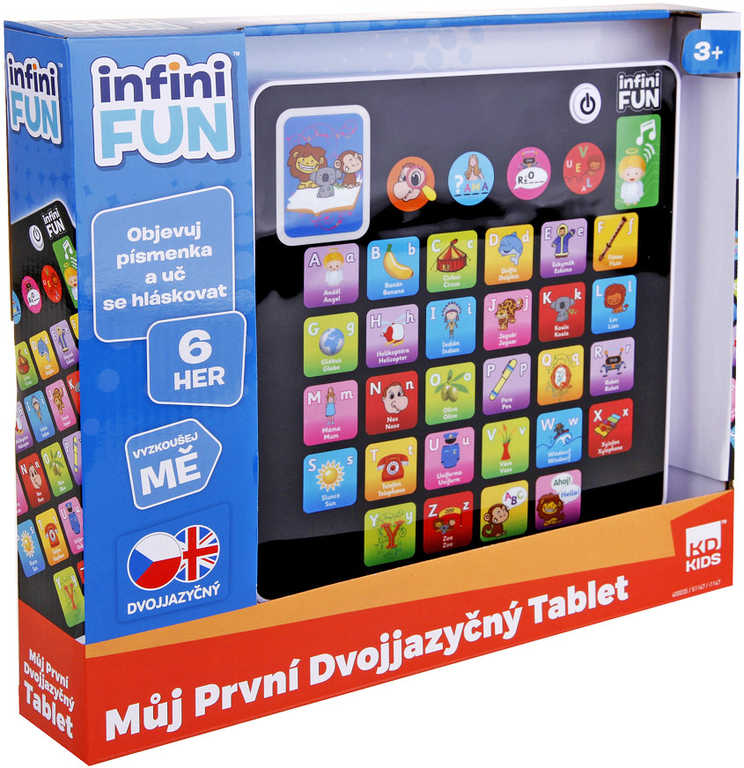 Tablet dětský dvojjazyčný naučný CZ/AJ na baterie 6 her