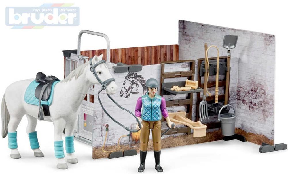 BRUDER 62506 Bworld Stáj pro koně set kůň s jezdcem a doplňky 1:16 plast