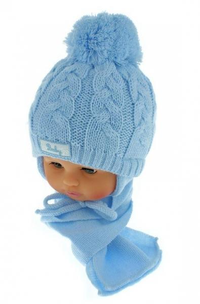 Zimní pletená čepička s šálou Baby Bear - modrá s bambulkou - 34/36 čepičky obvod