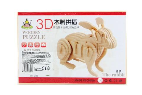 Puzzle dřevěné 3D Králík