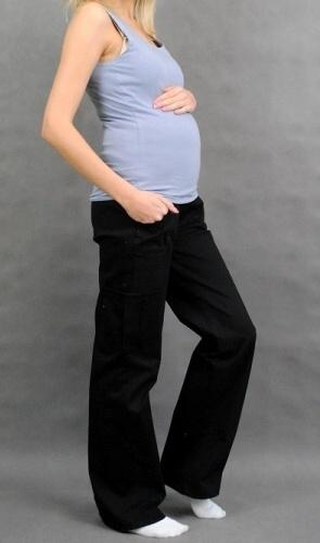 Be MaaMaa Těhotenské kalhoty s boční kapsou - černá - XXXL (46)