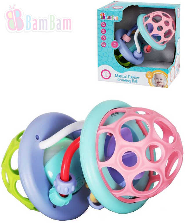 ET BAM BAM Baby koule hudební gumová kousátko a chrastítko pro miminko