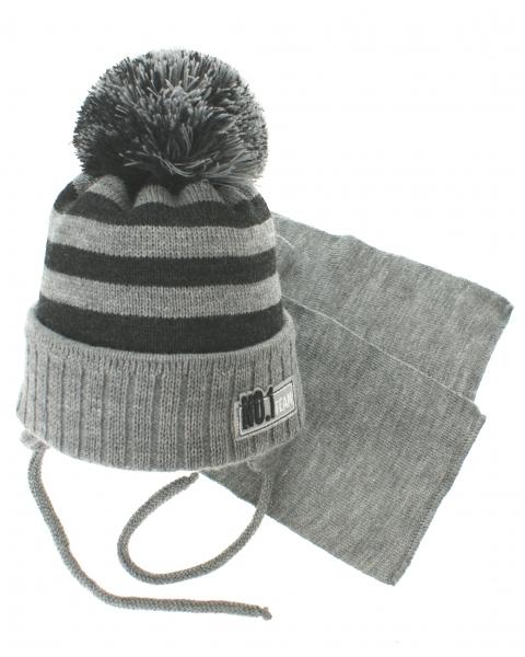 Zimní pletená čepička s šálou No.1 Team - proužky šedá grafit - 34 7e107f35d2