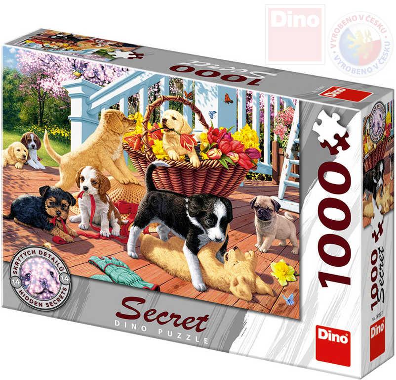 DINO Puzzle 1000 dílků Štěňata skrytá tajemství 66x47cm skládačka v krabici