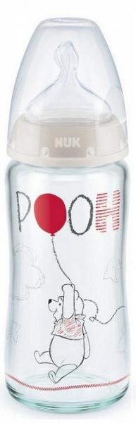 NUK Antikoliková skleněná lahvička FIRST CHOICE Medvídek Pooh 0-6 m - šedá