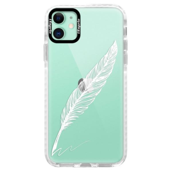 Silikonové pouzdro Bumper iSaprio - Writing By Feather - white - iPhone 11