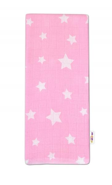 Baby Nellys Kvalitní bavlněná plenka - Tetra Premium, 70x80cm - Hvězdičky bílé na růžové
