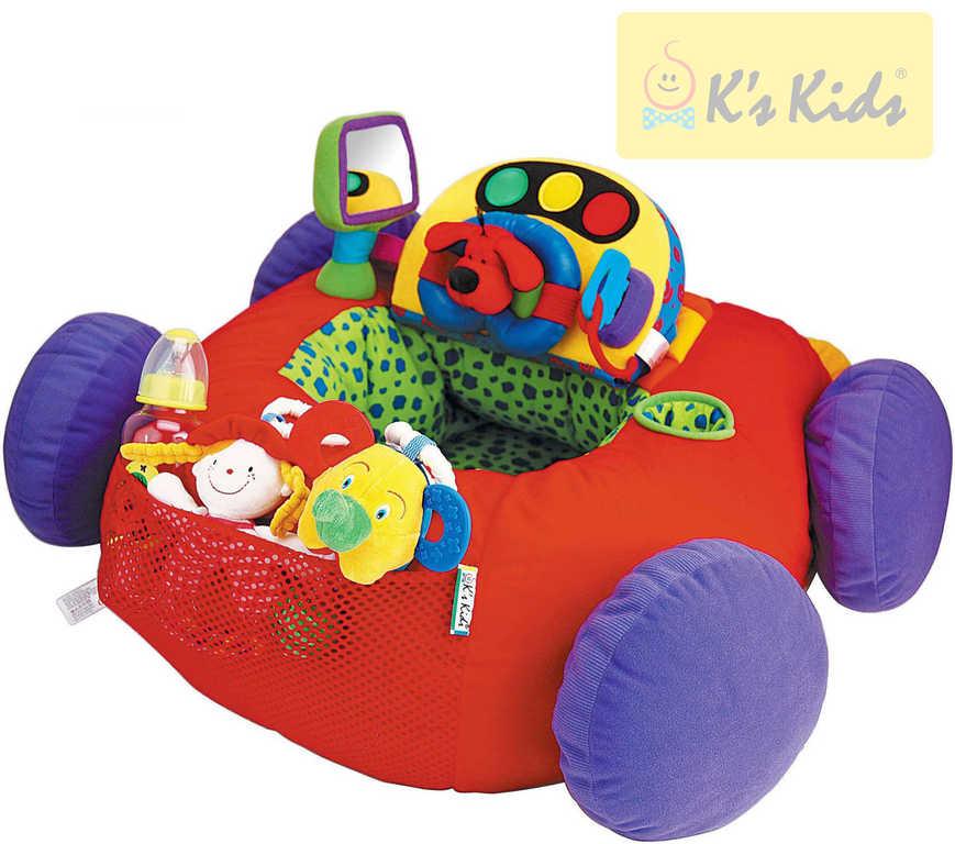 K´S KIDS PLYŠ Auto baby látkové elektronické s volantem a doplňky Zvuk
