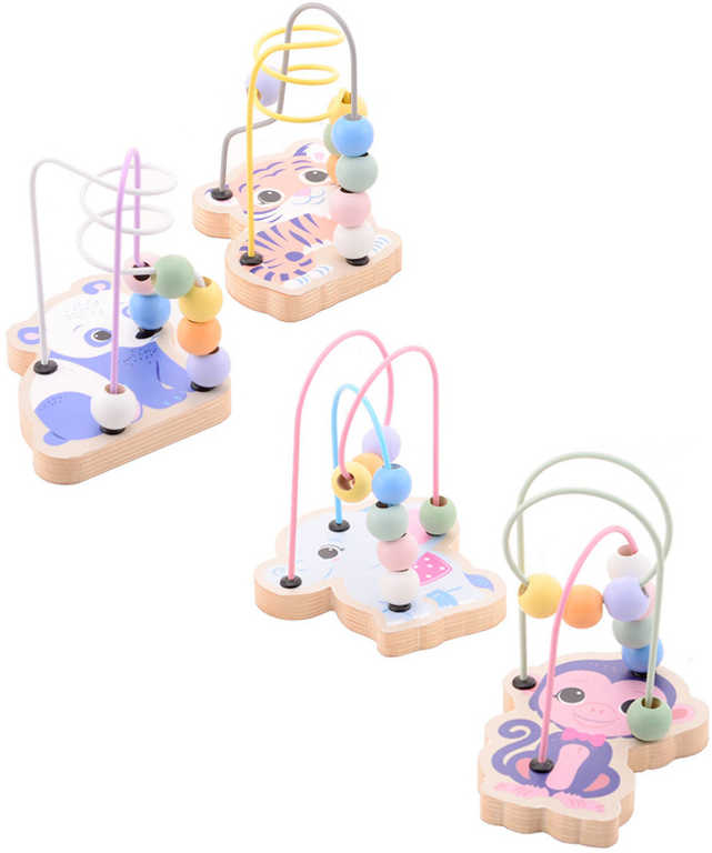 DŘEVO Baby labyrint motorický provlékačka se zvířátky různé druhy pro miminko