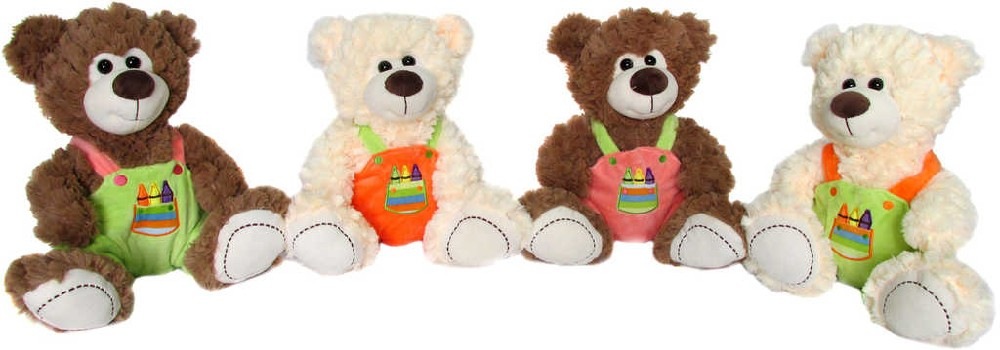 PLYŠ Medvídek v kaťasech 32cm 2 barvy 4 druhy s pastelkami