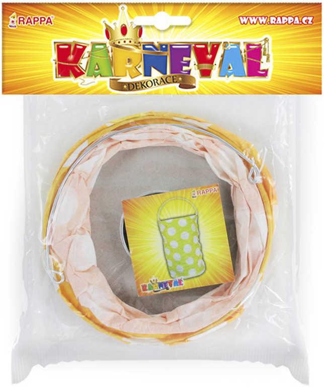 KARNEVAL Lampion žlutý puntík papírový 15cm krčený na svíčku