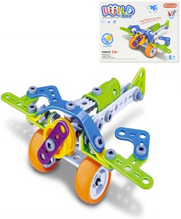 Build and Play stavebnice šroubovací Letadlo 73 dílků v krabici
