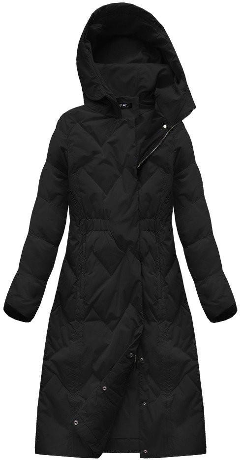 Černý dámský kabát s přírodní vycpávkou (7119)