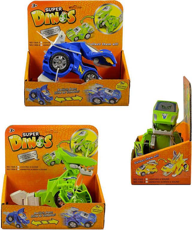Dino auto transrobot s přeměnou na baterie Světlo Zvuk plast 2 barvy