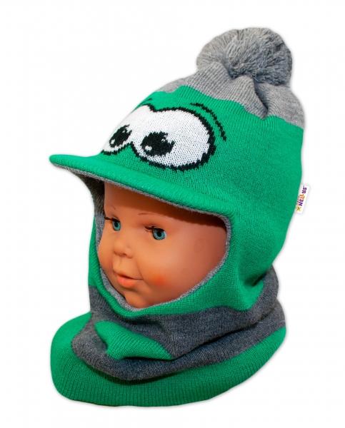 BABY NELLYS Zimní čepička/kukla s kšiltem a bambuli - zelená s očima