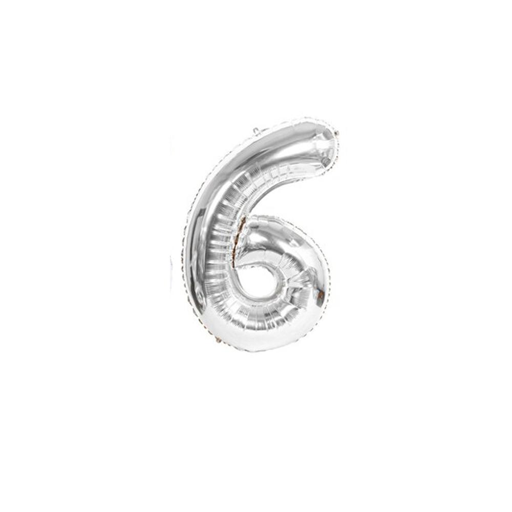 Nafukovací balónky čísla maxi stříbrné - 6