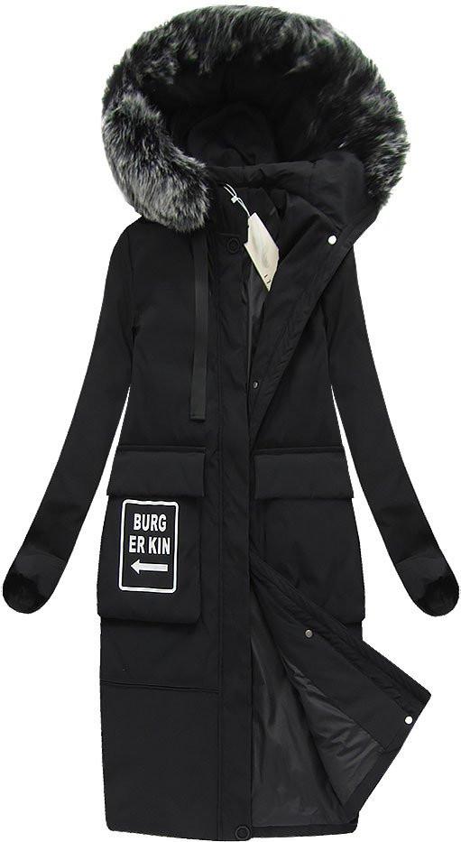 Černý dámský zimní kabát s přírodní vycpávkou (X7093X)