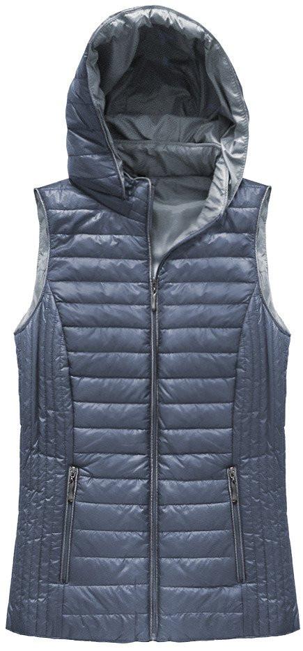 Světle modrá prošívaná vesta s kapucí (B1067-30)