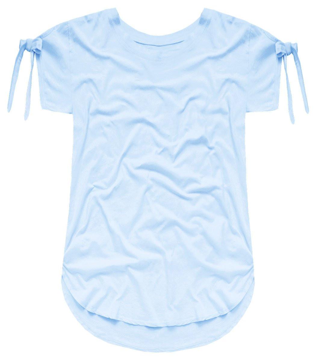 Světle modré bavlněné tričko T-shirt se zavazováním (ART3) - Modrá/ONE SIZE