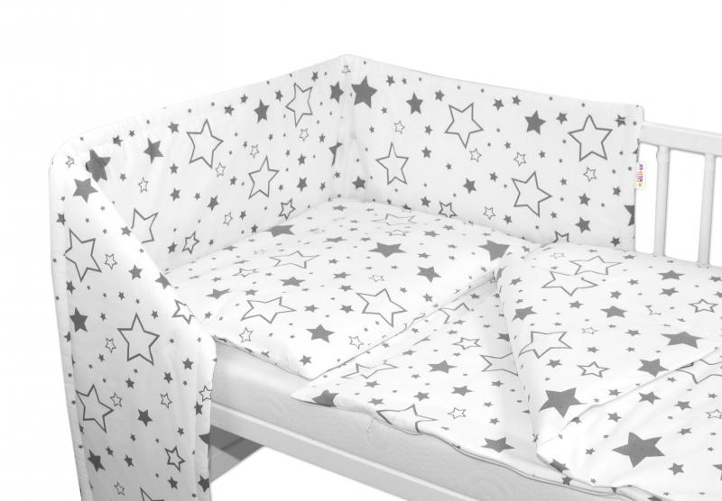 3-dílná sada - mantinel s povlečením - Šedé hvězdy a hvězdičky