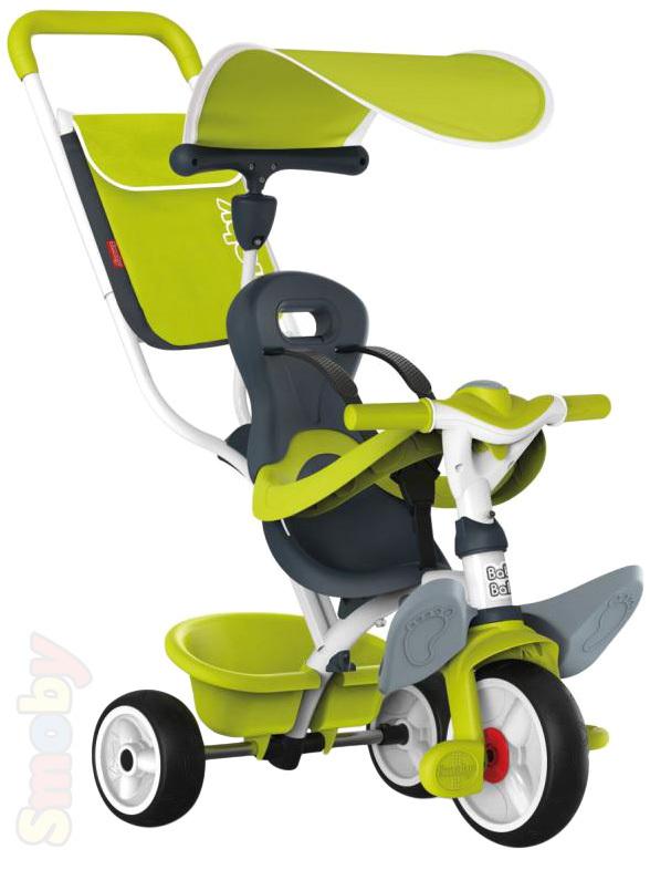 SMOBY Tříkolka Baby Balade 2 s vodící tyčí a stříškou zelená 3v1 šlapadlo s košíkem