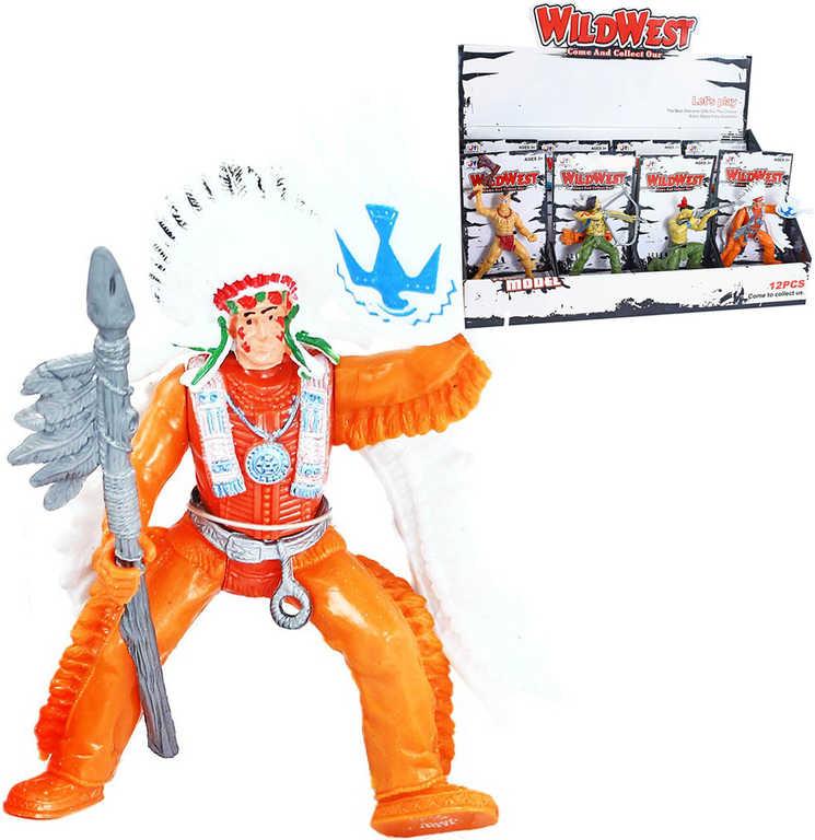 Figurka westernová divoký západ kovboj / indián 4 druhy na kartě plast