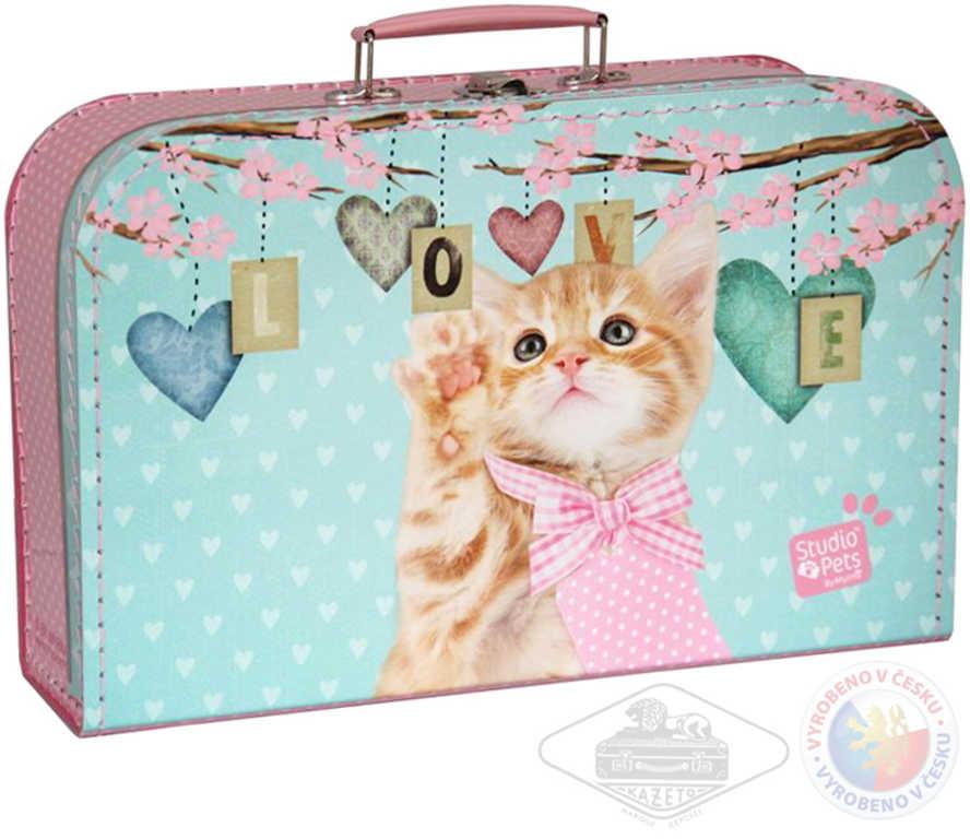 KAZETO Kufr lepenkový Kočička love velký růžovozelený