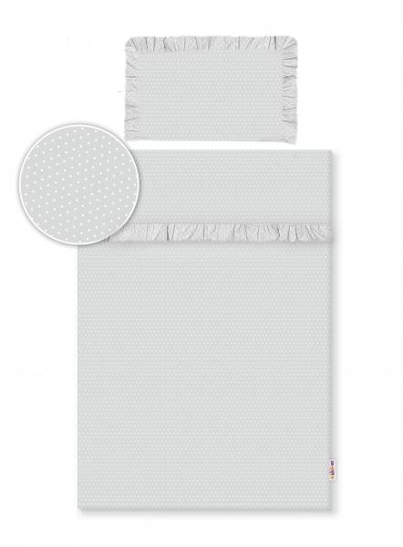 2-dílné bavlněné povlečení s volánky - šedé/tečky