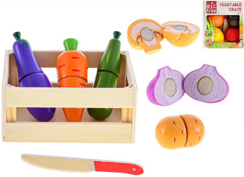 DŘEVO Baby krájecí ovoce / zelenina na suchý zip set s nožíkem a bedýnkou