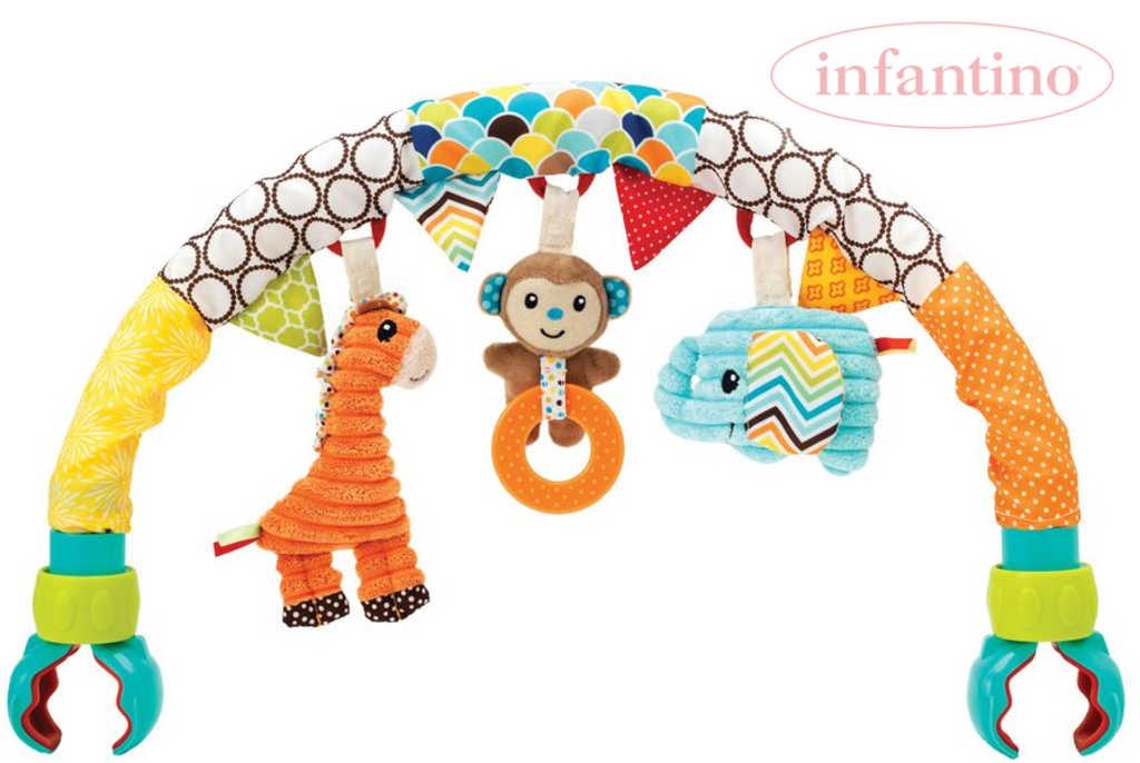 INFANTINO Baby hrazda na kočárek Safari se zvířátky a aktivitami pro miminko