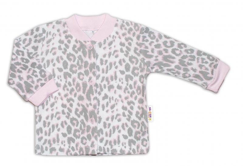 Baby Nellys Bavlněná košilka zap. uprostřed Gepardík