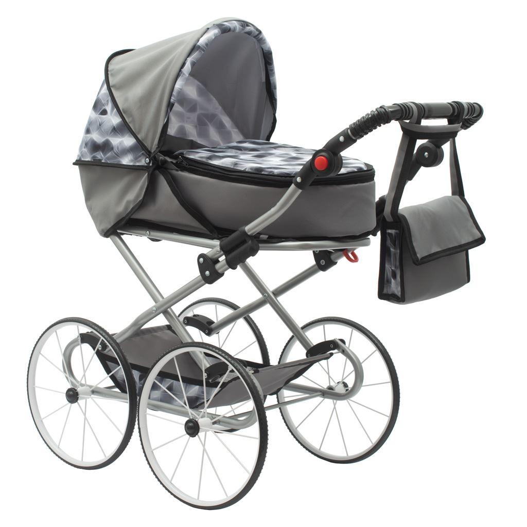 Dětský Retro kočárek pro panenky 2v1 New Baby - Nella šedý - šedá