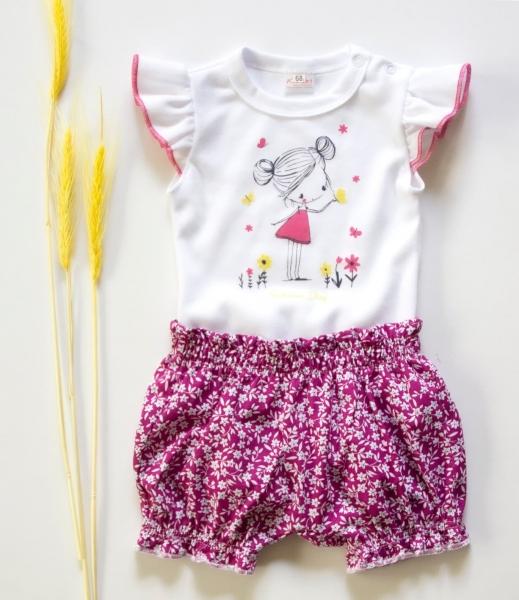 K-Baby 2 dílná dětská sada, body s kraťasky Girl - fuchsie - 62 (2-3m)